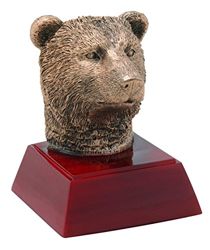 Decade Awards Grizzly Bear Sculpture Mascot Trophy - Grizzly Bear Sculpture Award - 4 Inch Tall - Customize Now