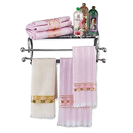 1:12 Dollhouse Miniature Golden Towel Rack and 2 Towels Bathroom Supplies
