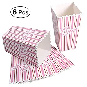 Amazon.com: BESTONZON 6pcs Paper Popcorn Boxes - pink and White Striped Popcorn Containers for ...