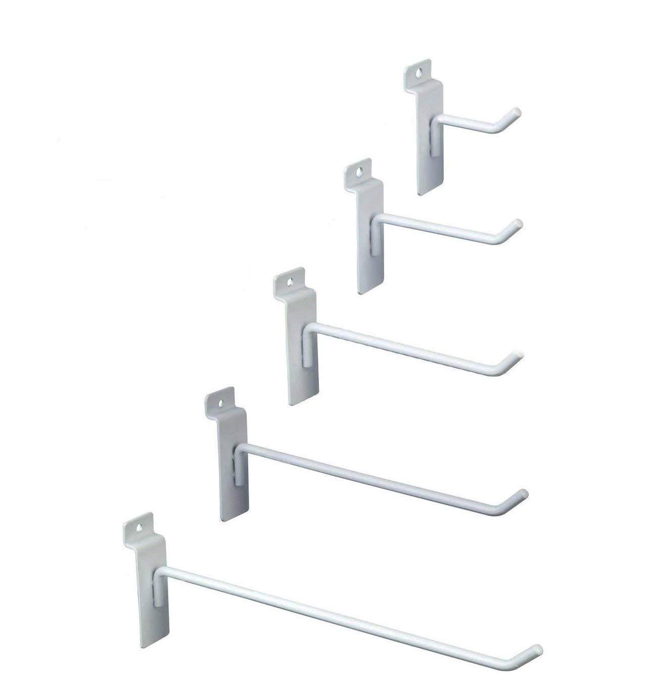 Only Hangers Commercial Grade White Slatwall Hooks - Combo Pack of 100 Assorted Size White Peg Hooks for Slatwall - (20) of Each 2'',4'',6'', 8'' and 10'' Hooks