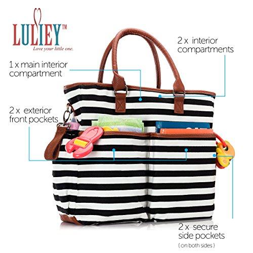 Premium Baby Diaper Tote Bag + Matching Changing Pad and Stroller Strap – 14 Spacious Pockets – Durable Canvas Material – Black and White Stripes with Tan Leather Trim – Lightweight - 14'' x 5'' x 15'' by Luliey (Image #2)