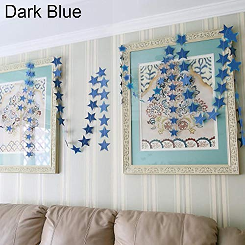 skoqjFQSen 4m Romantic Stars Paper Garland Banner Bunting Wedding Baby Shower Party Decor - Dark Blue