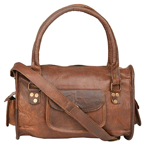 "Handcraft Women's ""Arabella"" Women's Leather Cross Body Shoulder Strap Tote Party Office Bag Brown"