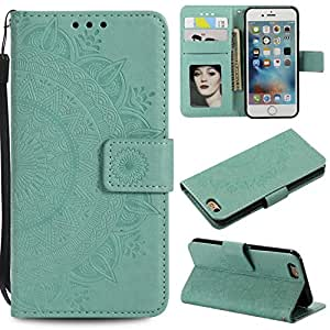 Case iPhone 7/8, Bear Village® PU Leather Embossed Design Case with Card Holder and ID Slot, Wallet Flip Stand Cover for Apple iPhone 7 / iPhone 8 (#2 Green)