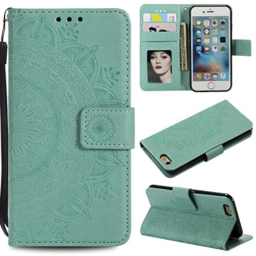 Case Galaxy S5, Bear Village PU Leather Embossed Design Case with Card Holder and ID Slot, Wallet Flip Stand Cover for Samsung Galaxy S5 (#2 Green)