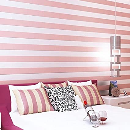 HUANGYAHUI Pink and white stripes wallpaper simple modern non-woven ...