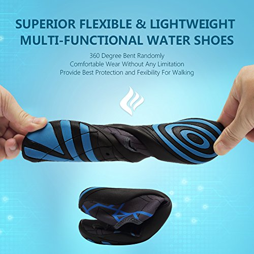 CIOR Men and Women's Barefoot Quick-Dry Water Sports Aqua Shoes With 14 Drainage Holes For Swim, Walking, Yoga, Lake, Beach, Garden, Park, Driving, Boating,DND002,Grey,43 4