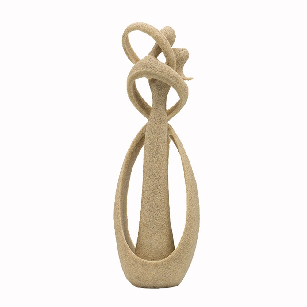 Ozzptuu Sandstone Resin Lover Hug Kiss Style Abstract Sculpture Statue Collectible Figurines Home Office Bookshelf Desktop Decor