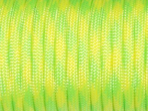 100ft 550paracaídas cuerda tipo Lanyard Mil Spec III 7Strand Core Neon Green+Yellow Sacoora