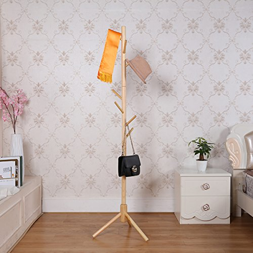 Garwarm 8-Hooks Creative Simplicity Solid Wood Floor Finish Entryway Standing Coat Rack Hall Tree Hat Hanger Holder Tripod Base Jacket Clothes Scarves Purse -