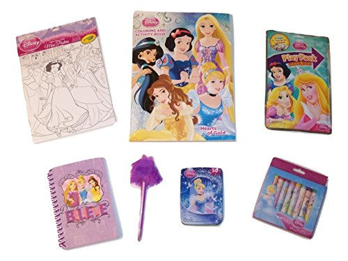 Disney Princess Activity Gift Set ~ Hearts of Gold (Coloring and Activity Book, Color Your Own Posters, Play Pack, Journal with Fuzzy Pen, Puzzle in a Tin, Crayons; 6 Items, - Art Warehouse Posters