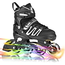 Woolitime Sports Adjustable Inline Skates for Kids with 8 Illuminating Wheels, Safe and Durable Rollerblades, Fashionable Roller Blades for Girls and Boys, Men and Ladies