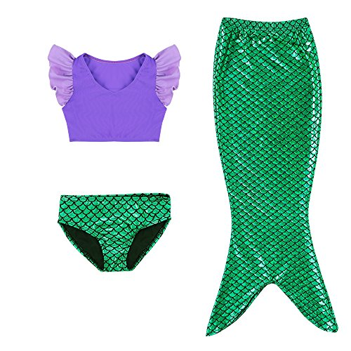 3 Pcs Mermaid Tail for Baby Girls Swimming Mermaid Bathing Suits Swimsuit Bikini Set 3-12 Years Purple ()