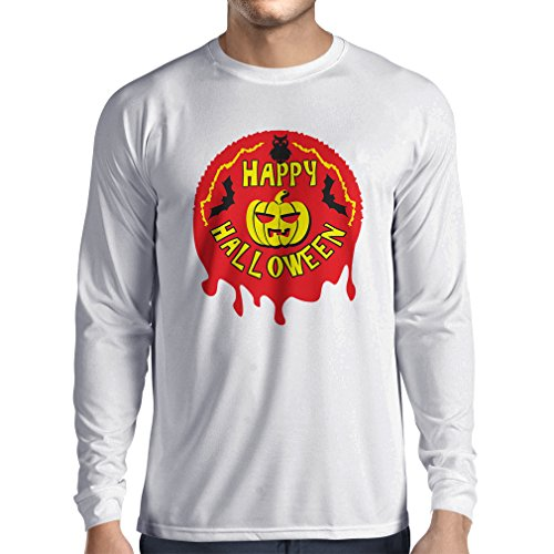 Long Sleeve t Shirt Men Happy Halloween! - Party Clothes - Pumpkins, Owls, Bats (Medium White Multi -