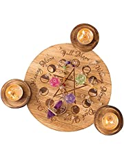 Candle Holders Witchcraft Altar Supplies,Wooden Candelabra Holders Decor with 3 Holders Astrology Decor Pentacle Altar Plate for Supernatural Forces Decor Fire Element Wax Table Energy