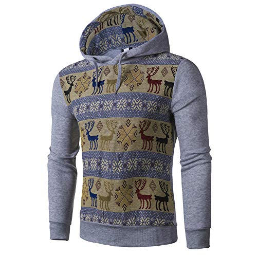 (kaifongfu Men's Long Sleeve Hoodie Top Blouse with National Fawn Style Print(Gray,XL))