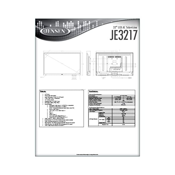 "Jensen JE3217 32"" LED AC Television with Integrated HDTV (ATSC) Tuner and Remote Control, 1366 x 768 WXGA+ Resolution, HDTV Ready (1080p, 720p, & 480p), High Performance Wide 16:9 LCD Panel, 110V AC 4"