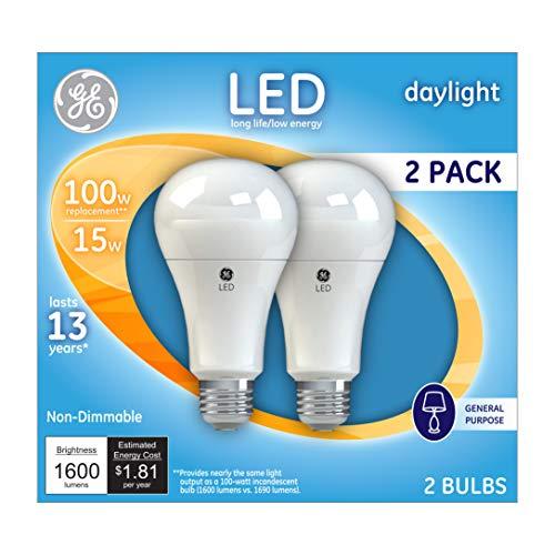 GE Daylight 100 Watt Replacement LED Light Bulbs, General Purpose A21, Bluish White Light Bulbs