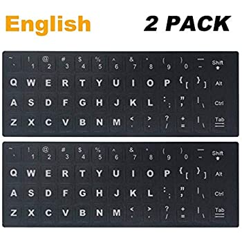 e65477d626e [2PCS Pack] Universal English Keyboard Stickers, Typing Keyboard Stickers  Black Background with White Lettering for Computer, Each Unit Size: (Width)  0.43