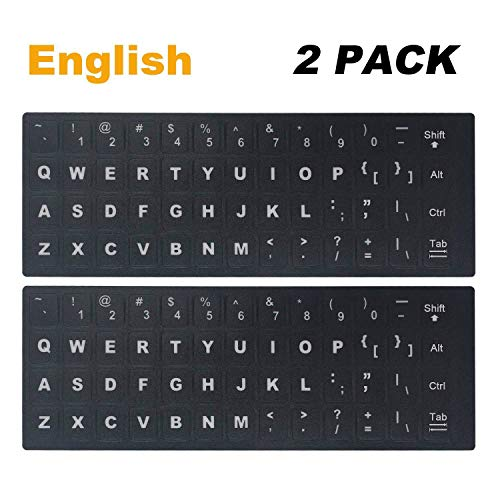 [2 Pack] Universal English Keyboard Stickers, Replacement English Keyboard Stickers with Black Background and White Lettering for Computer, Each Unit: Width 0.43