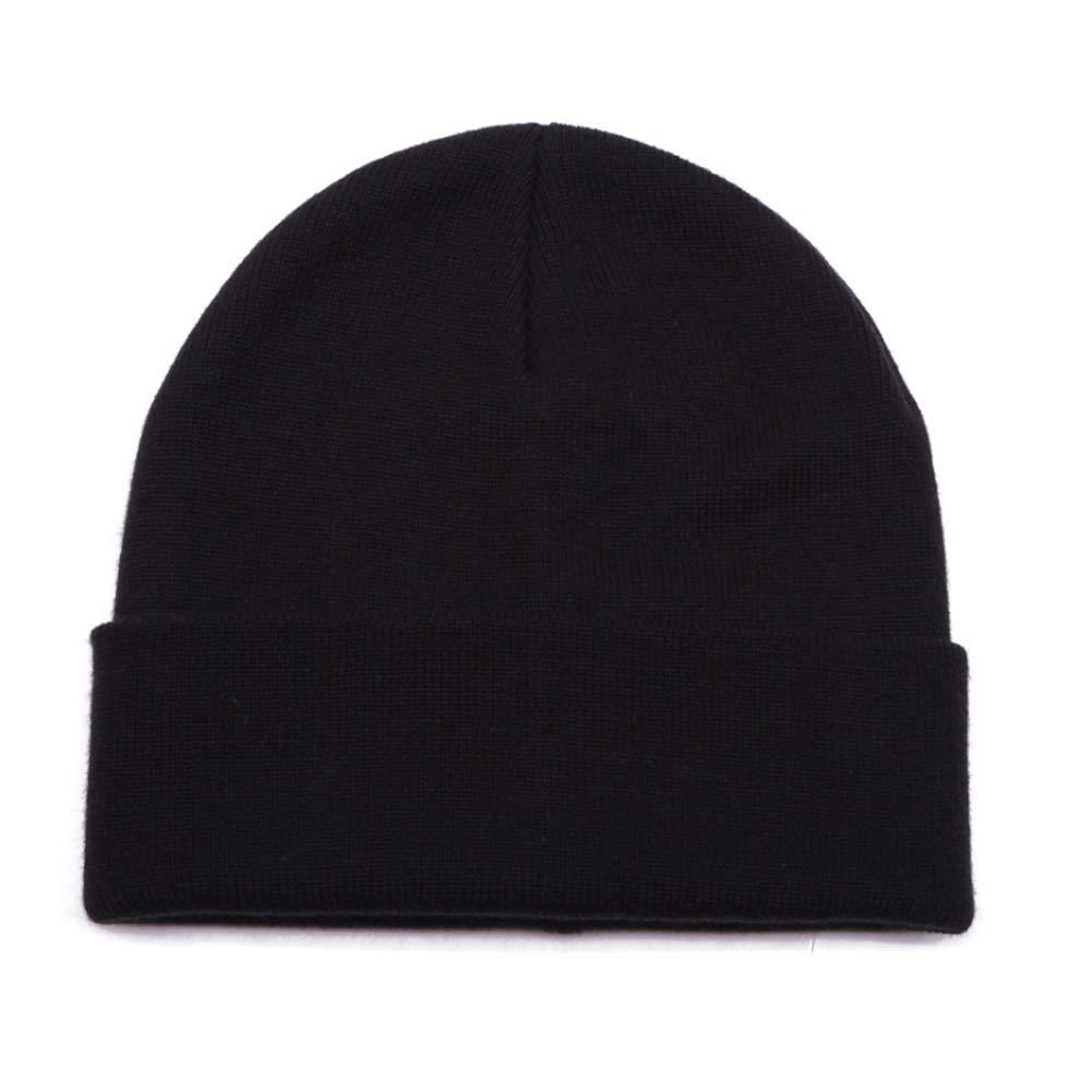 Black Fmissyao Unisex Cuffed Plain Skull Knit Hat Cap Winter Rolled Men and Women Knit Hat Autumn and Winter Warm Earmuffs Cap