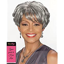 Charlotte Wig Color 1B - Foxy Silver Wigs Short Wedge Style Stacked Layers Wispy Side Swept Bangs Synthetic African American Average Cap Bundle with MaxWigs Hairloss Booklet