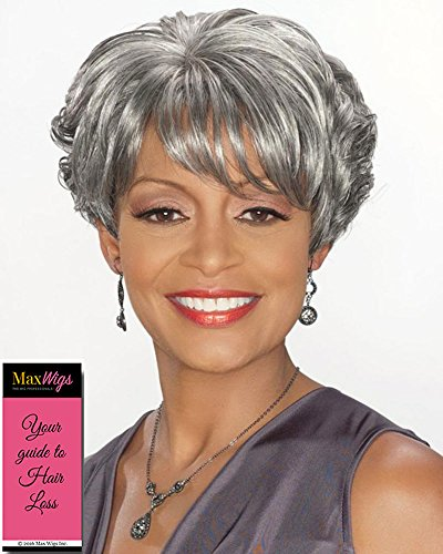 Charlotte Wig Color 1 Black - Foxy Silver Wigs Short Wedge Style Stacked Layers Wispy Side Swept Bangs Synthetic African American Average Cap Bundle with MaxWigs Hairloss Booklet (Medium Hair With Layers And Side Swept Bangs)