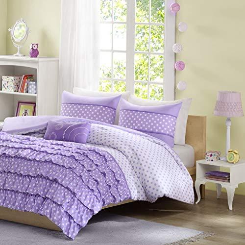 Kaputar Beautiful Modern Purple Lavender Polka DOT Ruffled Girls Comforter Set Pillow | Model CMFRTRSTS - 1899 | Full
