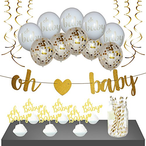 Baby Shower Decorations - Gender Neutral, for Girl or Boy | Gold, Oh Baby Shower Banner, 10 Gold/White Balloons, 6 Cupcake Toppers, 12 Straws & 6 Gold Streamers | 35 Piece set | Gender Reveal -
