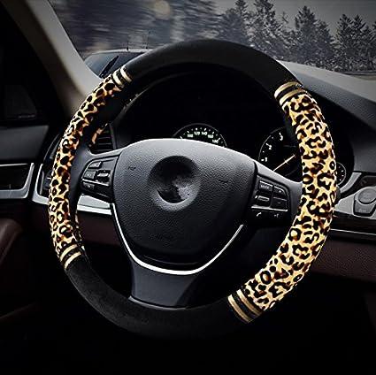 HCMAX Premio Felpa Morbido Veicolo Coprivolante Comodo Inverno Protezione per Volante dellautomobile Universale Diametro 38 cm Stampa Leopardo 15