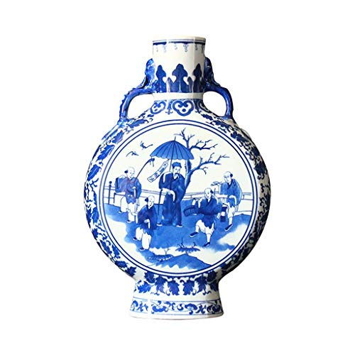 (Vases Ceramic, Ming and Qing Dynasties, Classical Qing Dynasty, Flat Bottle, Chinese Ornaments, Blue and White Porcelain Flower Inserter)