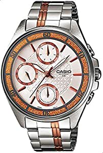 Watch for Women by Casio, Analog, Chronograph, Stainless Steel, Silver/RG, LTP-2086RG-7AV