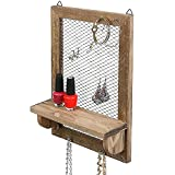 8 Hook Wood and Metal Chicken Wire Wall Mounted Jewelry Display Organizer Rack with Shelf