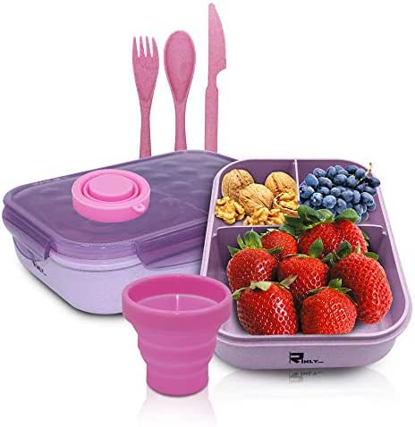 Bento Box for Adults & Kids Leakproof With 3 Compartments BPA Free with free Cutlery and cup