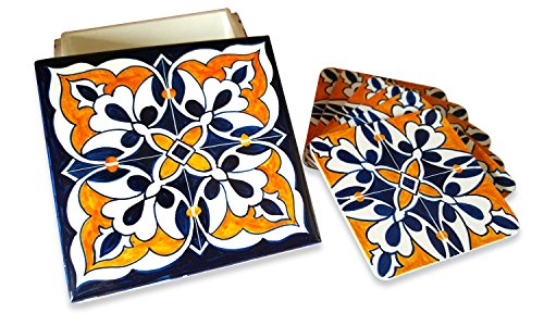 Fuchsia Living Handmade Hand-painted Wooden Coaster Set, Blue & Orange Tile Pattern. Set of 6 Square Coasters and 1 Wooden Holder (Coaster Pattern Tile)