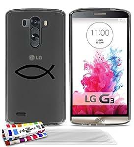 Carcasa Flexible Ultra-Slim LG G3 D851 de exclusivo motivo [Ichtus símbolo] [Gris] de MUZZANO + 3 Pelliculas de Pantalla UltraClear + ESTILETE y PAÑO MUZZANO® REGALADOS - La Protección Antigolpes ULTIMA, ELEGANTE Y DURADERA para su LG G3 D851