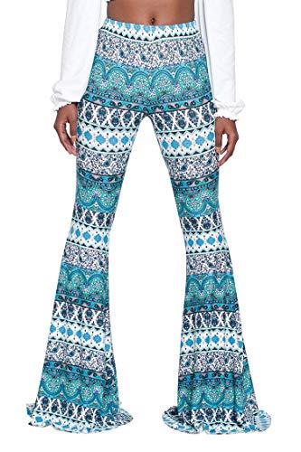 Ceemon Female 2019 Ethnic Soft Slimming Long-Legged Leggings Disco Pants M Cyan