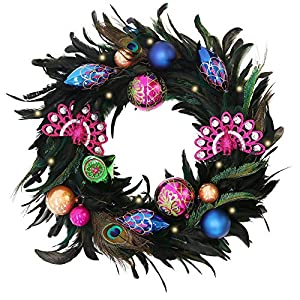 Valery Madelyn Woodland Christmas Garland, Christmas Wreath Floral Picks with Ball Ornaments and Pine Cone, Battery Operated 20 LED Lights