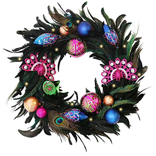 """House Wreath Ornament (Valery Madelyn Pre-Lit 24"""" Decorative Peacock Wreath with Shatterproof Ornaments, Battery Operated 20 LED Lights with Remote Timer)"""