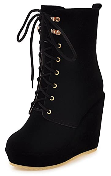 0ded9a0eacbf Aisun Women s Casual Faux Suede Round Toe High Wedge Heel Platfprm Lace up  Short Boots (