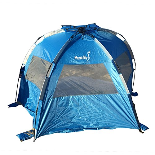Musiclily Pop Up Beach Tent Instant Outdoors Sun Shelter Tent Beach Sun Shade Canopy Cabana Beach Tents for 3-4 Person Family Children Camping, Sky Blue