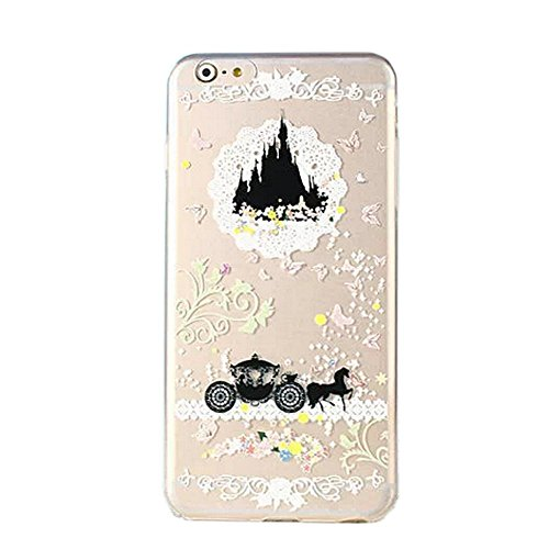 DECO FAIRY Compatible with iPhone 6 Plus / 6s Plus, Cartoon Anime Animated Pumpkin Carriage Wagon Car Dream Castle Series Transparent Translucent Flexible Silicone Clear Cover Case