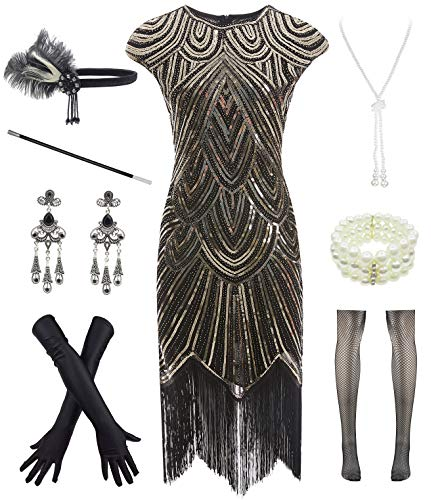 Women 1920s Vintage Flapper Fringe Beaded Gatsby Party Dress with 20s Accessories Set Black Gold