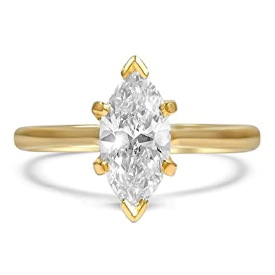 59d26771b espere Sterling Silver Marquise Cut Cubic Zirconia CZ Solitaire Engagement  Ring Platinum Plating Size 6-
