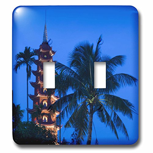 3dRose Danita Delimont - Vietnam - Vietnam, Hanoi. Tay Ho, West Lake, Tran Quoc Pagoda, dusk - Light Switch Covers - double toggle switch (lsp_257310_2)
