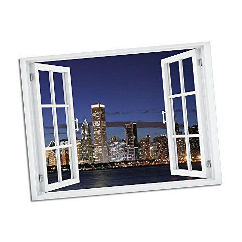 Chicago Skyline Paradise Window Art 36x48 Wall Decal (Chicago Window Poster compare prices)