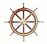 Premium Wood Handcrafted Nautical Ship Wheel | Brass Handles & Ring | Pirate's Home Decor | Nagina International (30 Inches)