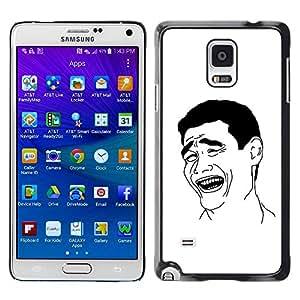 Caucho caso de Shell duro de la cubierta de accesorios de protección BY RAYDREAMMM - Samsung Galaxy Note 4 SM-N910F SM-N910K SM-N910C SM-N910W8 SM-N910U SM-N910 - Man Laughing Smile Art Black White Irony Quote