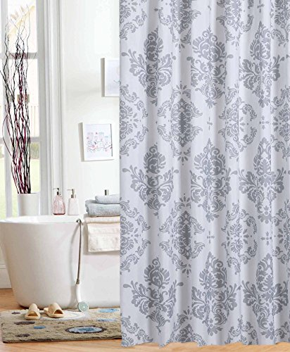 Unbranded Elegant Gray on White Damask Fabric Shower Curtain Bold Medallion Bath - Damask Gray Fabric