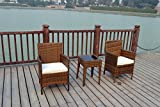 BISTRO 2 SEATER CHAIRS RATTAN WICKER CONSERVATORY OUTDOOR GARDEN FURNITURE SET (Light mixed brown)